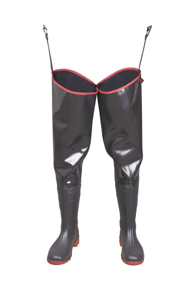 "WATERPROOF WADERS ""STRONG"" Model: WR02 STRONG The thigh waders have been produced with high quality PVC boots welded in. The boots have been tested for slip resistance on ceramic floor with sodium lauryl sulphate solution (NaLS) and on steel floor with glycerol - protection type OB FO E SRC. Thigh waders have been made on waterproof, very strong new generation rubber, non demanding any special treatment. It's a good protection against water. High frequency welding makes seams stronger."