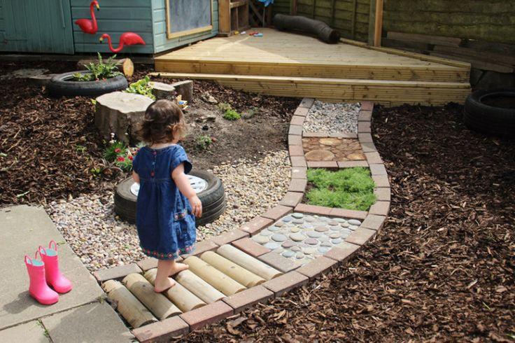 Sensory garden path--great idea for toddlers. https://playathometeacher.com/2016/06/25/diy-sensory-path/