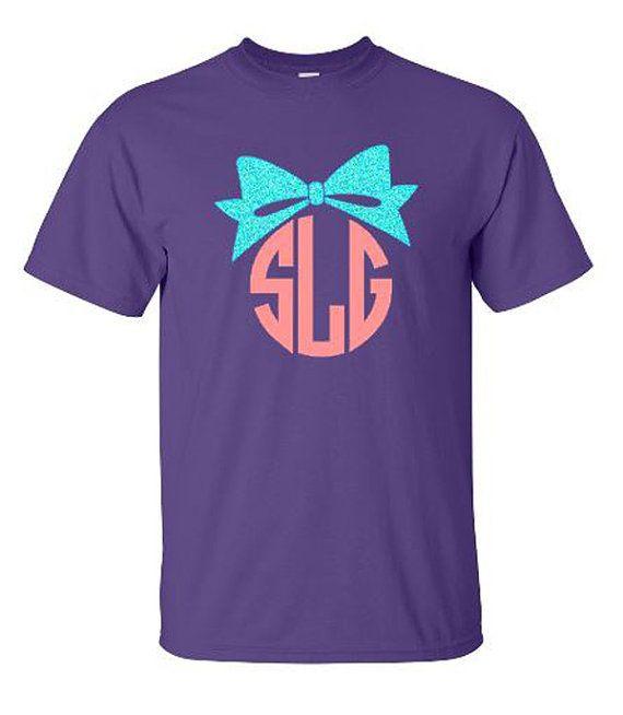 Large Glitter Bow Monogram Shirt Personalized by VinylDezignz, $23.95
