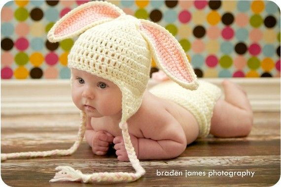 Crocheted Baby Easter Bunny Hat and Diaper Cover set    3 to 6 months via Etsy