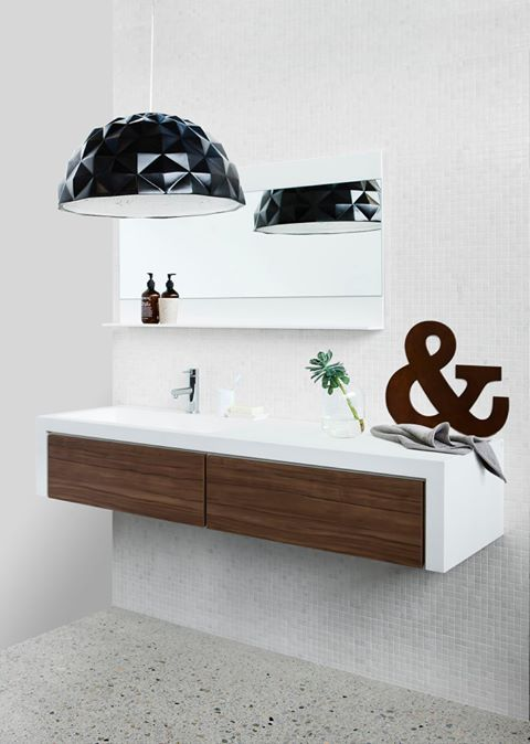 Navurban Yarra Walnut | This stunning vanity by CIBO Bathroomware featuring our lovely, soft-coloured Yarra Walnut, complementing the surround bright white tones.