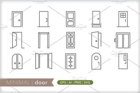 Minimal Door Icons By Picture Window On Creativemarket Icon Business Illustration Doors