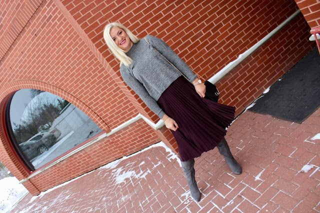 OOTD - Over the Knee Boots and a Midi Skirt