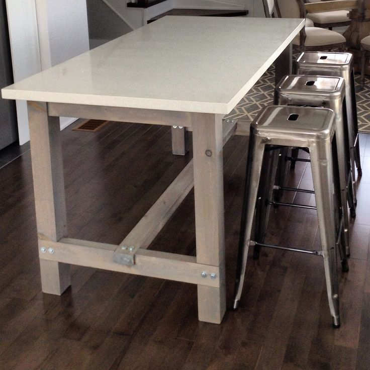 DIY harvest table kitchen island with white quartz counter. Cut, stained and assembled the wood, then added a plywood top, followed by the quartz.