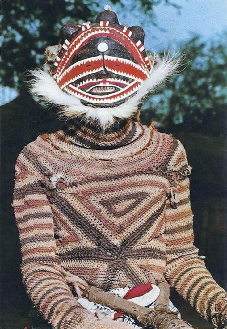 Africa   Makishi dancer.  Zambia    Scanned postcard