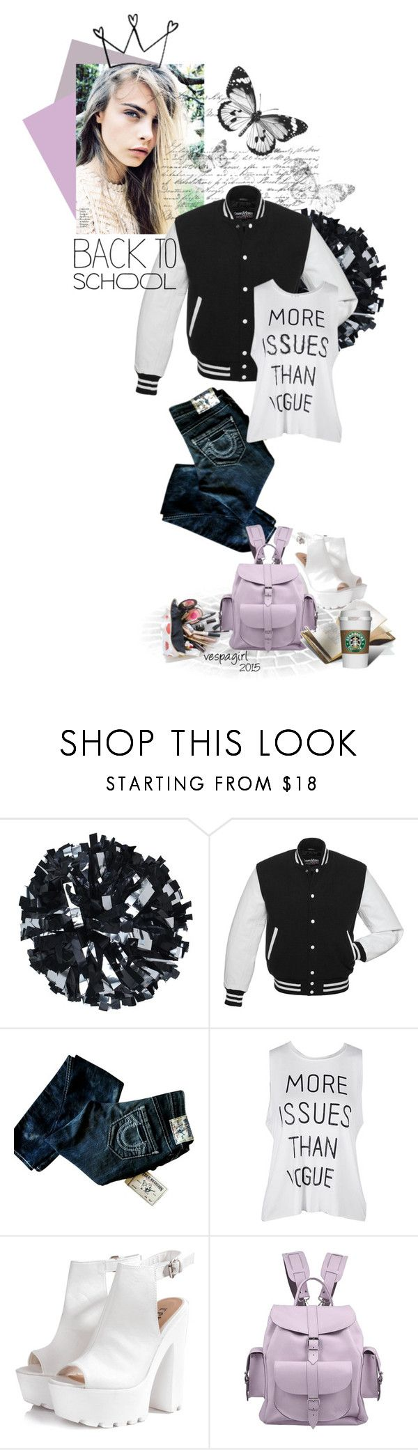 """""""Back to School Jacket"""" by vespagirl ❤ liked on Polyvore featuring True Religion, Glamorous, Grafea, BackToSchool, jacket and Letterman"""