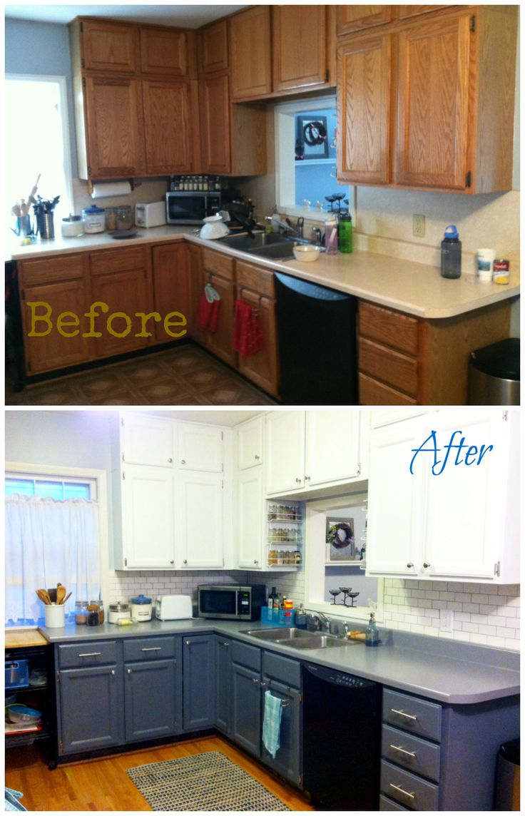 Kitchen Before and After with very good advice re: Rustoleum countertop cover