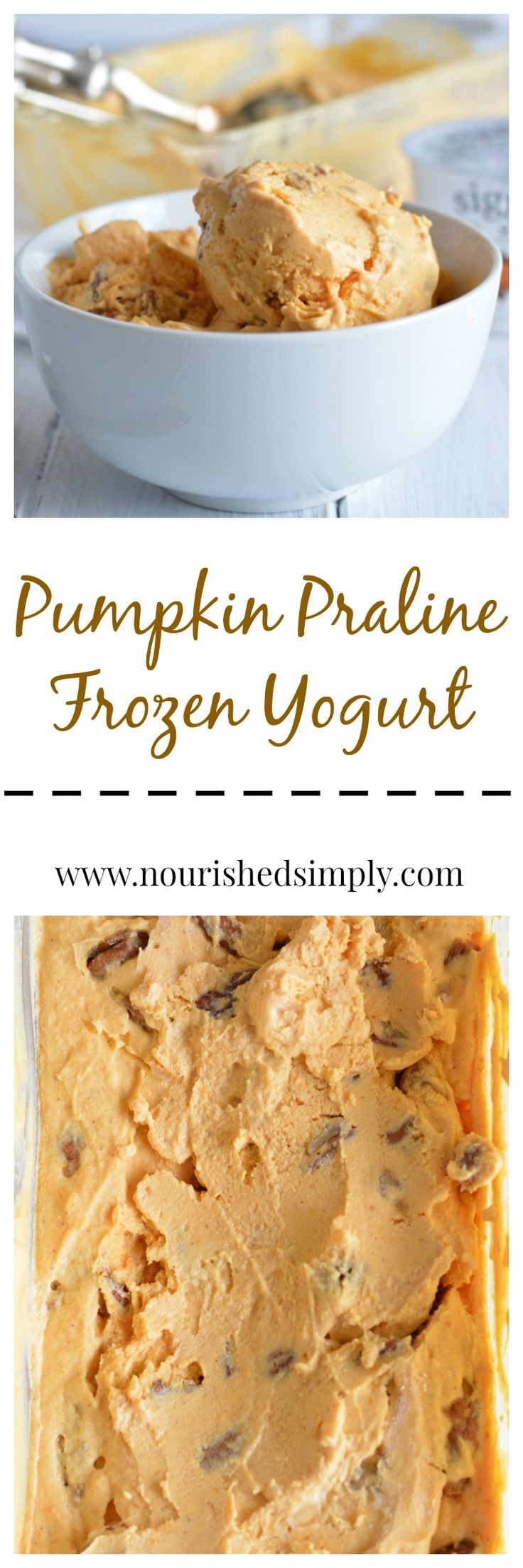 Pumpkin Praline Frozen Yogurt made with Siggi yogurt and pumpkin puree. A perfect Fall dessert.  Serve with your Thanksgiving pies.