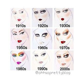 Decade makeup starting in 1910 and going all the way until now. Looks based off of an artist rendering of each decade's makeup trends! Makeup Inspo, Makeup Tips, Beauty Makeup, Eye Makeup, Hair Makeup, 80s Makeup Trends, Makeup Style, Glow Skin, Makeup History