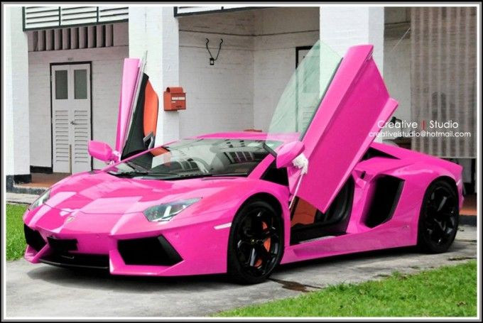 Pink Lamborghini sport cars customized cars
