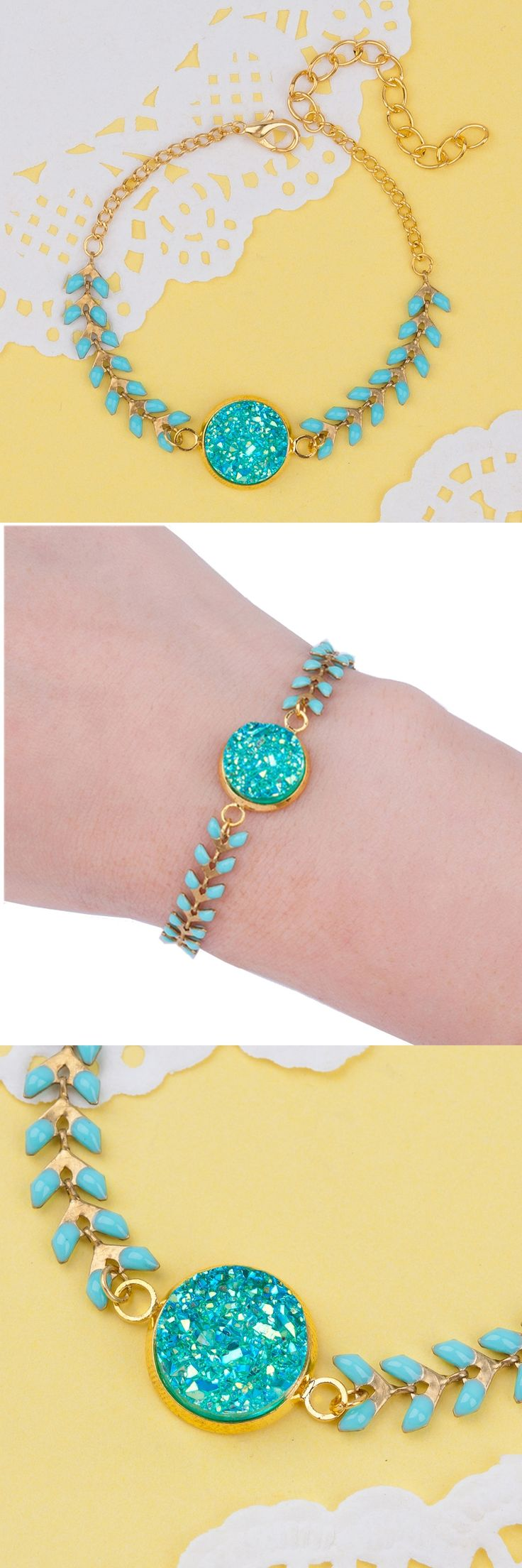 DoreenBeads Gold color Druzy Charm Bracelet Mint Green Enamel Herringbone Chain Round Resin Green AB Color Connector 15.5cm 1PC