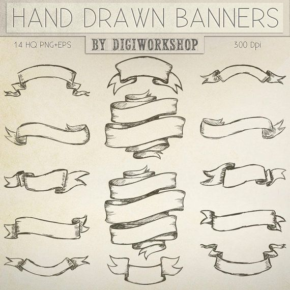 Hand Drawn banners clipart Hand Drawn Banners set by DigiWorkshop