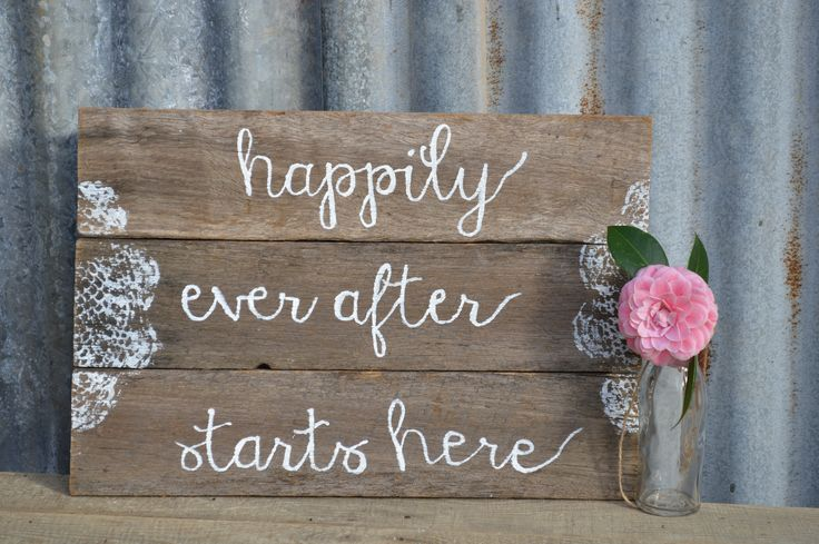 Rustic wedding sign. Happily ever after starts here. Made from recycled fence palings. #queenstvintage #rusticprops #rusticweddings #recycledtimber #prophiresydney #vintageideas #rusticsigns #rusticdrinkstations #rusticsweettables #vintageweddings #rusticwishingwells #timberweddingsigns #drinkstations #photobooth #tablecentrepieces #caketables