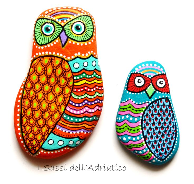 #owls  Painted stone owls https://www.facebook.com/ISassiDelladriatico