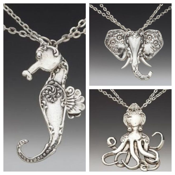 Fun creatures with Silver Spoon Jewelry! #elephant #octopus #seahorse