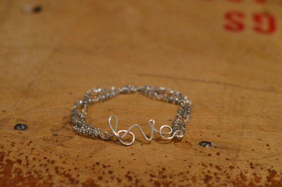 Silver love charm bracelet with translucent by CreationsOfJackieL