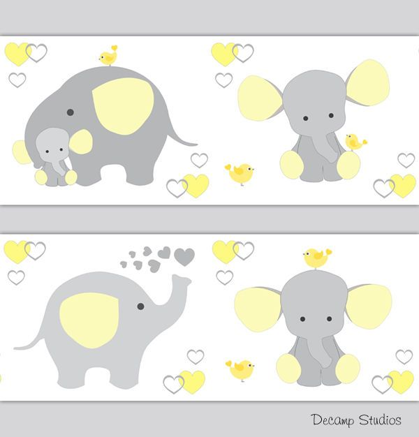Yellow Gray Elephant Neutral Nursery Wallpaper Border Wall