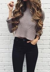Solid Long Sleeve Cable Knit Sweater