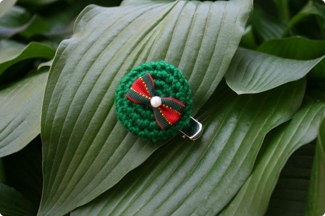 sunny&funny: [knit-crochet] Yo-Yo pattern-christmas hairpin