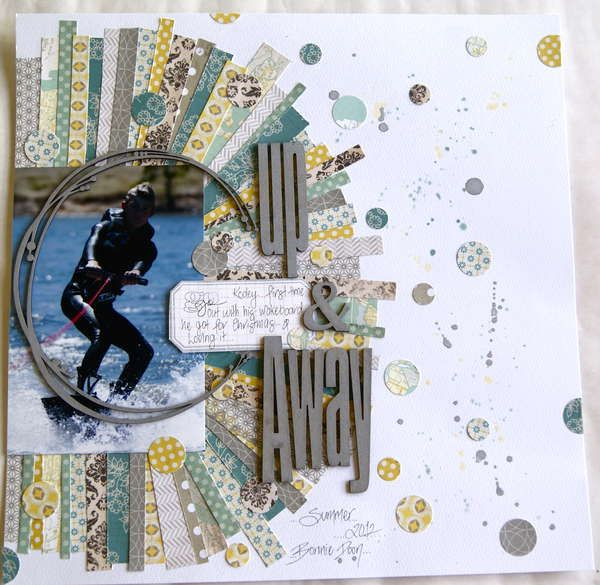 Love the design around the photo and the circles - Layout: Up &Away by Yarra on Scrapbook.com