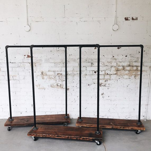 Rustic Industrial Reclaimed Wood Standard Rolling Garment Rack-Large