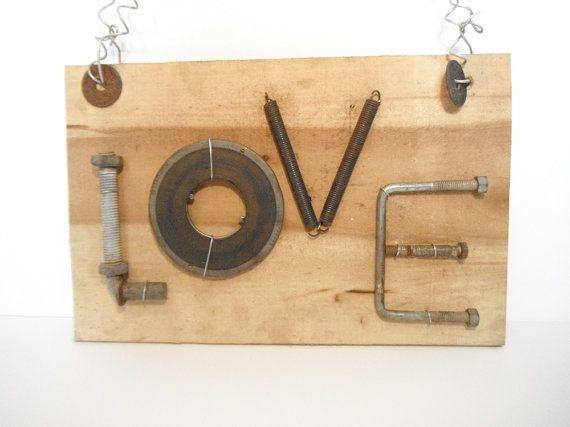 Charming Love sign old rough cut poplar wood by TheCharmingFarm