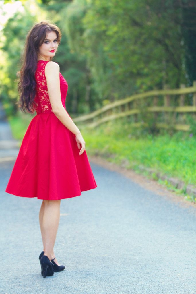394 best images about outfits on pinterest brown knee for Red midi dress wedding guest