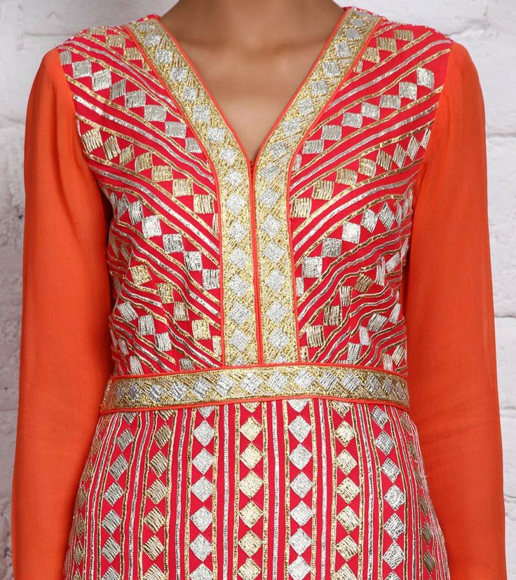 Coral Georgette Churidar Suit with Gota Work | by Panee