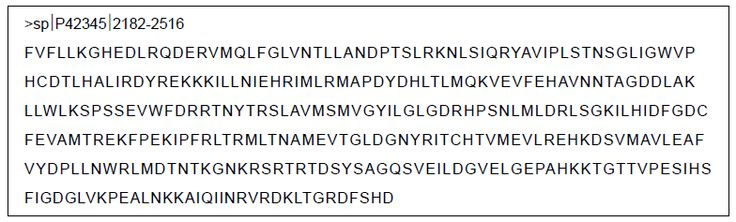 Figure 2 Amino acid sequence of mTOR catalytic domain.