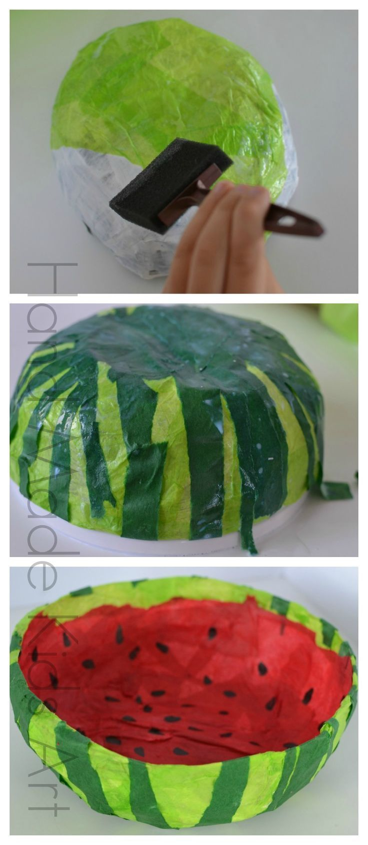 Fun Paper Crafts | Watermelon Paper Mache bowl #papermache