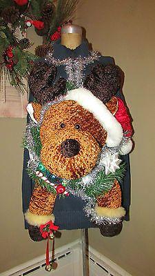 UGLY Christmas Sweater GIANT Reindeer Jingle Bells Light up sz XXL