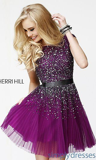 Short Ivory Party Dress with Open Back by Sherri Hill at SimplyDresses.com $450