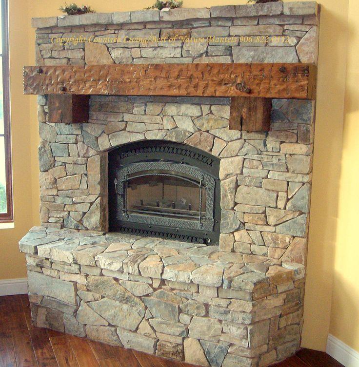 Pix For U003e Stone Fireplace Wood Mantels