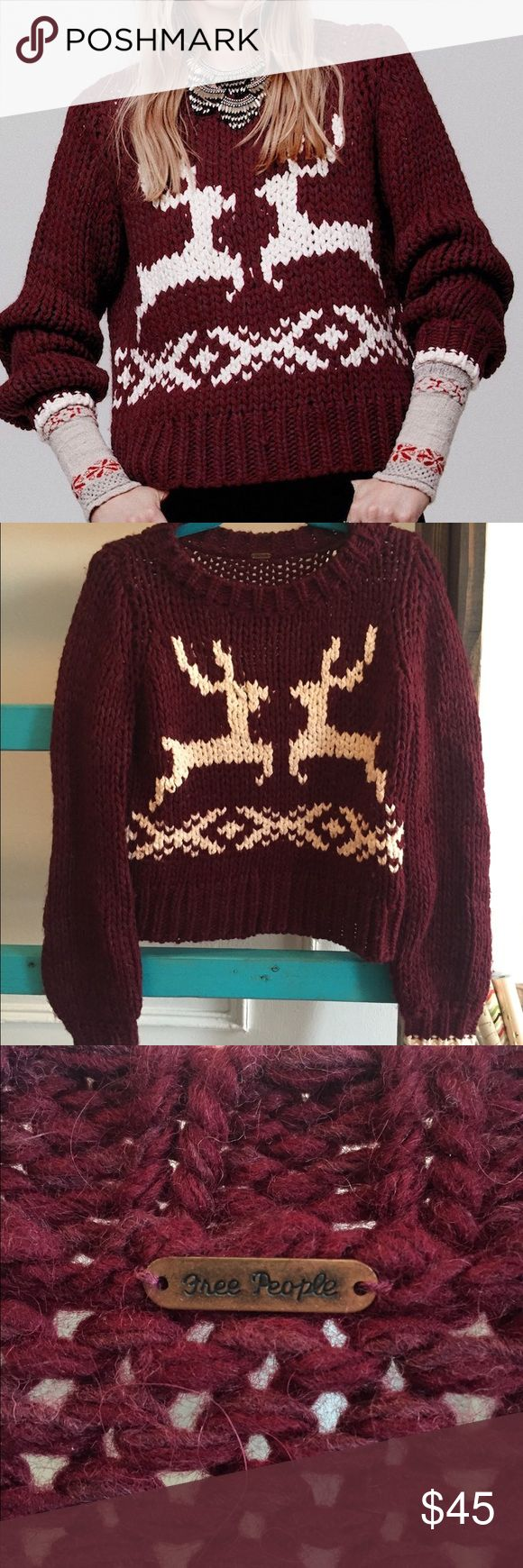 Free People Dancer and Prancer Sweater Reindeer Adorable reindeer sweater from Free People. Super chunky and soft. Amazing holiday pattern!! Size small fits true to fp sizing in a boxy oversized way. Great condition, only worn once! Originally $168!! Free People Sweaters Crew & Scoop Necks