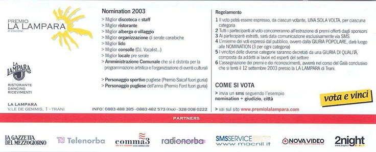 Partner premio La Lampara 2003