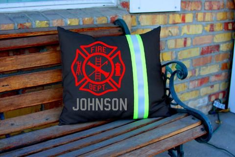 Black MALTESE Cross and Name Pillow Firefighter Themed Decor Personalized