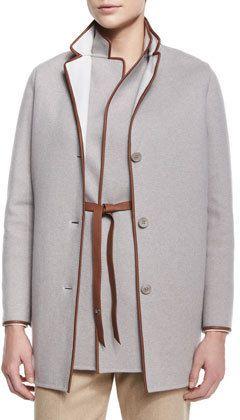 Loro Piana Barnet Leather-Trimmed Caban Coat