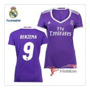 Le Nouveau Flocage Maillot FC Real Madrid Femme (Benzema 9) Exterieur 2016 2017