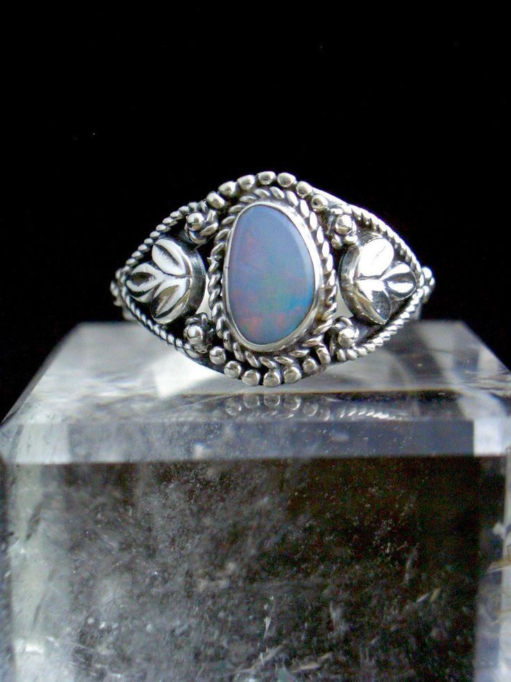 Australian Blue Opal Genuine Gemstone 925 Sterling Silver Renascence Style Ring Jewellery Size 9.5 by Ameogem on Etsy