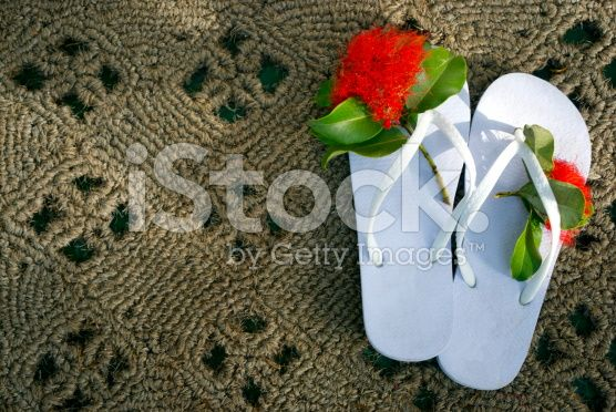 Kiwiana Summer, Jandals & Pohutakawa Flower stock photo 53294210 - iStock