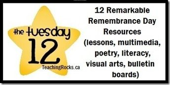 12 Remarkable Remembrance Day Resources: lessons, multimedia, poetry, literacy, visual arts, and bulletin boards! www.teachingrocks.ca