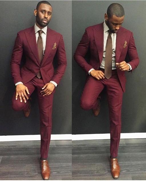 Mens Suits 2018 Custom Made Burgundy Casual Men Suits Slim Fit Groom Groomsman Blazer