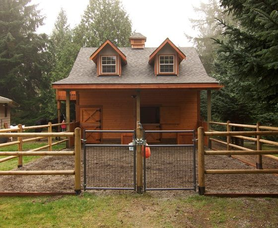 Cute! back yard barn with 2 gables.....very cute, only I would have lined up the stall openings with the gables!