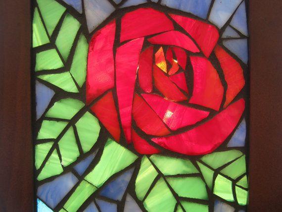 Mosaic Window Rose  Sun Catcher by MadeByNatalieK on Etsy, $35.00