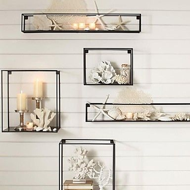 E-HOME® Metal Wall Art Wall Decor, Rectangular Wall Decor Set of 5 - USD $ 119.99