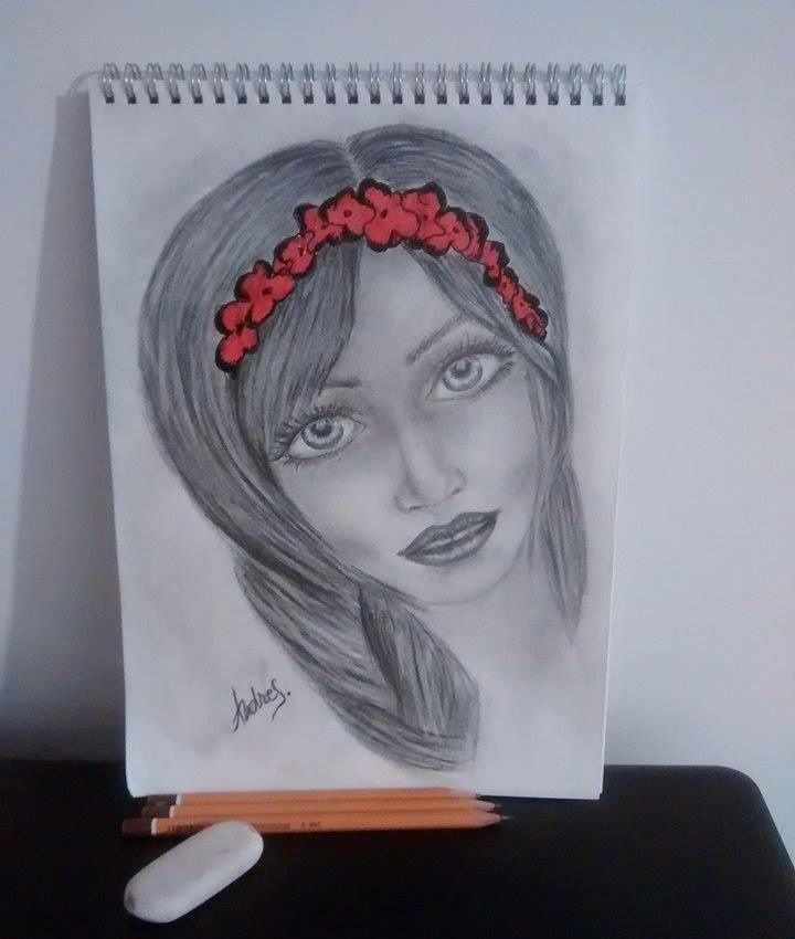 Lady with flowers. #mydrawing #mythoughtsonpaper #pencildrawing