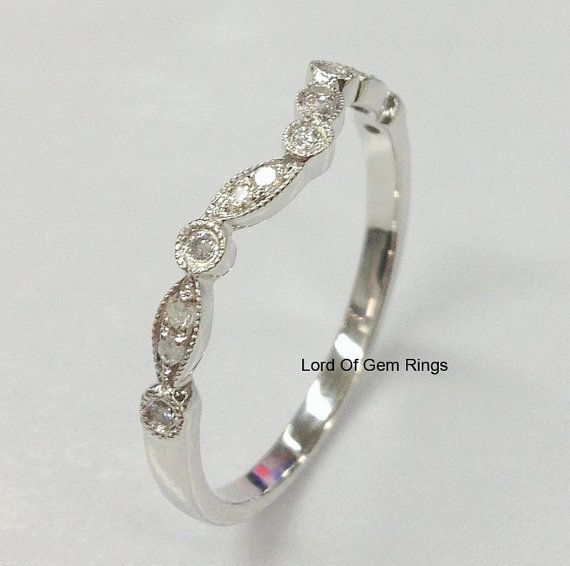 Wedding Matching Band Round Cut Diamond Stackable 14K by TheLOGR