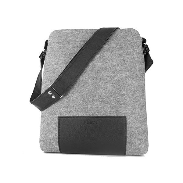 JUNIOR felt bag - Purol Design  JUNIOR is a hand-made bag of felt and leather with metal elements. Fastened with a zip.