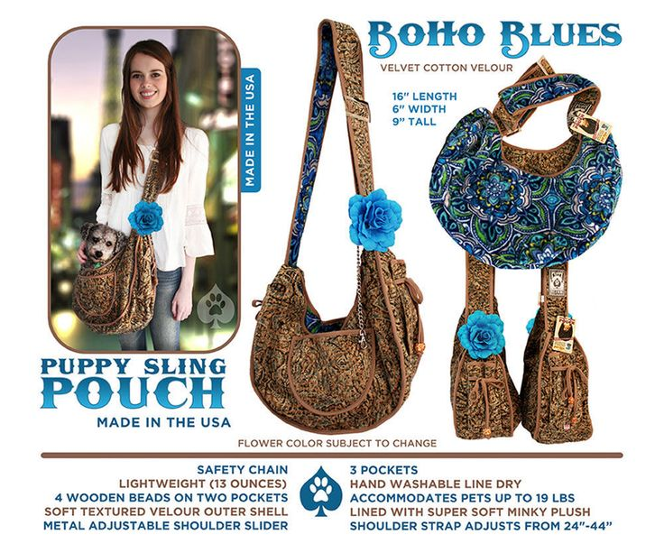 Collar Planet - Puppy Sling Pouch Boho Blues Pet Carrier (http://www.collarplanetonline.com/pet-carriers/puppy-sling-pouch-boho-blues-pet-carrier/) A beautiful golden soft textured velour puppy sling lined with super soft decorative blue interior. This hands free sling style pet travel bag is the perfect combination of convenience and style.