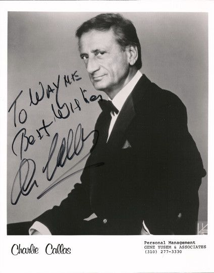 TV Memorabilia Comedian Charlie Callas Autographed Hand Signed Photo. Comes with certificate of authenticity. Charlie was an American comedian and actor most commonly known for his work with Mel Brook
